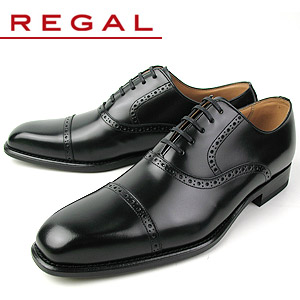 【エントリーでP5倍 4/9 20:00-4/16 1:59】 リーガル REGAL 靴 メンズ ビジネスシューズ 122R AL ブラック ストレートチップ 内羽根式 紳士靴 日本製 2E 本革 特典B