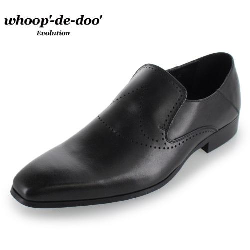 whoop-de-doo フープディドゥ Evolution 30760 BL ブラック レザー シューズ 靴 スリッポン カジュアルシューズ 本革 紳士靴