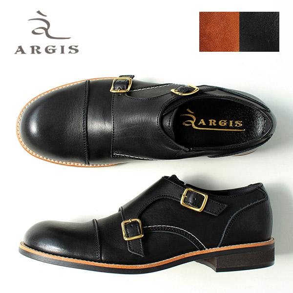 アルジス 靴 メンズ ダブルモンクストラップ ストレートチップ 51112 カジュアルシューズ 本革 ブラック/ブラウン 日本製