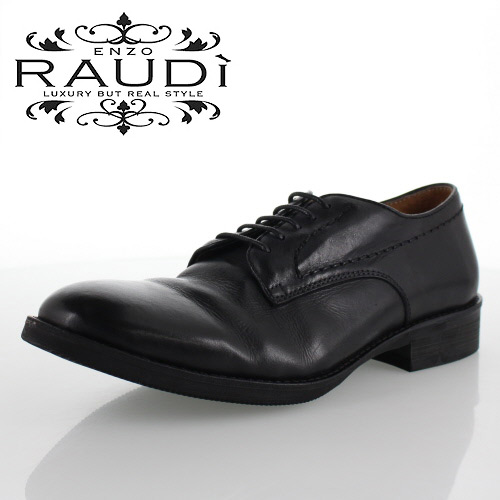 RAUDI ラウディ R-82105 BLACK ブラック メンズ 靴 本革 カジュアルシューズ 外羽根 プレーントゥ
