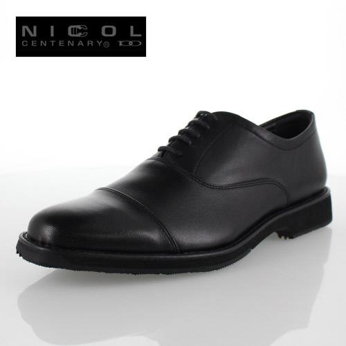 メンズ 靴 NICCOL CENTENARY ニコルセンテナリー 1030 ブラック ビジネスシューズ ストレートチップ 本革 紳士靴 内羽根式 日本製 撥水加工 4E