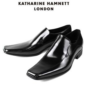 KATHARINE HAMNETT LONDON キャサリンハムネット 3946 BK メンズ 本革 ドレスシューズ ビジネス スワールトゥ スリッポン