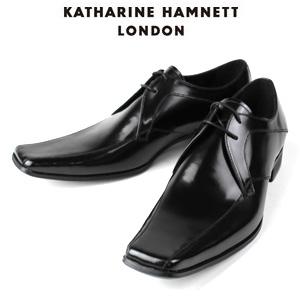 KATHARINE HAMNETT LONDON キャサリンハムネット 3948 BK メンズ 本革 ドレスシューズ ビジネス 外羽根スワールトゥ
