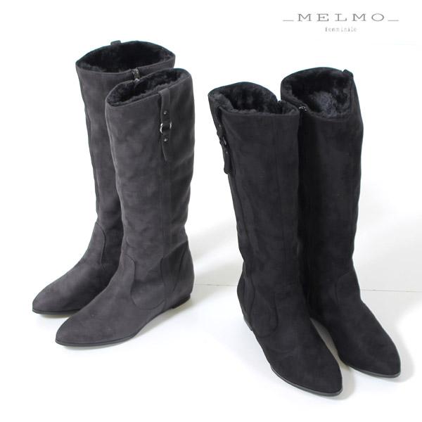 MELMO 靴 メルモ 7509 ロングブーツ レディース スエード インヒール 5cm ラウンドトゥ ベルト ファー 黒 ブラック グレー