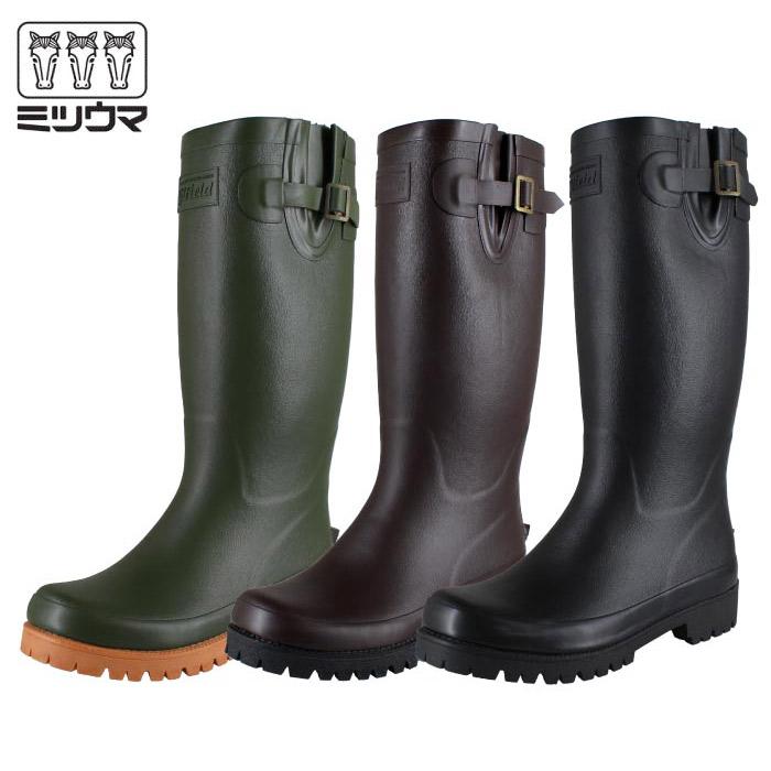 長靴 レディース メンズ ロング ミツウマ グリーンフィールド G-FIELD L01 農作業 釣り レインブーツ ラバーブーツ アウトドアブーツ おしゃれ 軽量 やわらか ブラック ブラウン グリーン