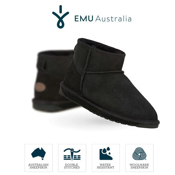 安い emu 黒 Australia エミュ ムートンブーツ ブラック スティンガー マイクロ Micro W10937 撥水レディース ブラック 黒 Stinger Micro, チョウセイムラ:5fa31b7a --- construart30.dominiotemporario.com
