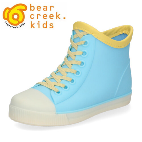 ハイカットスニーカー風のおしゃれなレインブーツ!通園 通学 ショート丈 ギフト プレゼント レインブーツ キッズ ベアクリーク キッズ シンプル bear creek kids SX-30 ブルー 子供用 雨 長靴