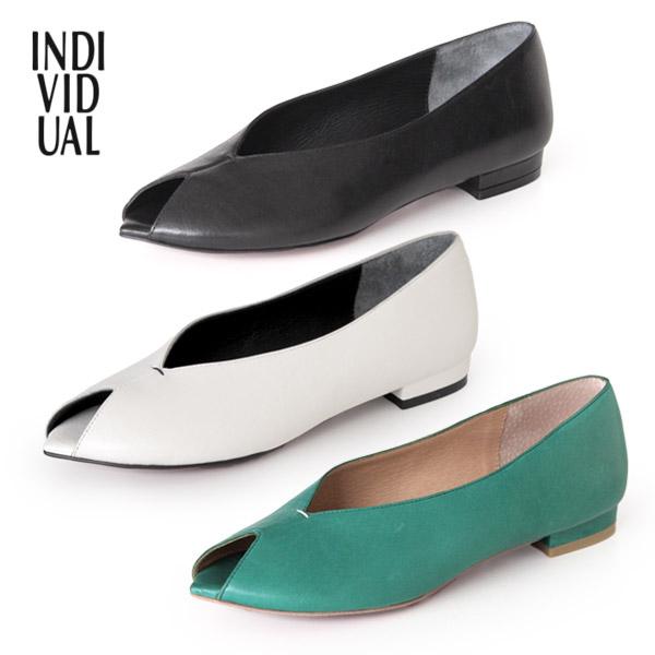 INDIVIDUAL インディヴィジュアル ラボキゴシ 靴 6226 本革 オープントゥパンプス ピープトゥ パンプス ローヒール レッドソール セール