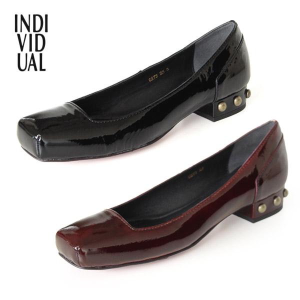 INDIVIDUAL インディヴィジュアル ラボキゴシ 靴 6273 本革 エナメル パンプス ローヒール レッドソール 甲浅 スクエアトゥ セール