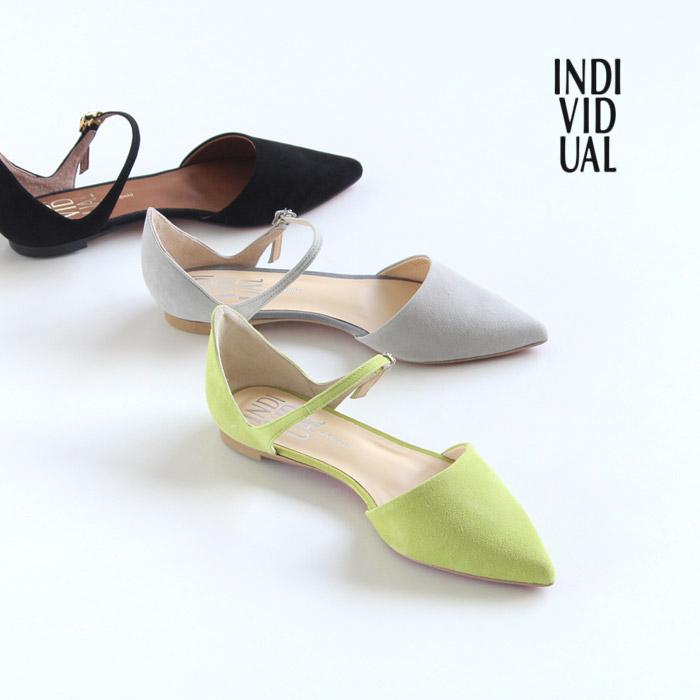 INDIVIDUAL インディヴィジュアル ラボキゴシ 靴 6304 セパレートパンプス ストラップ フラット ローヒール 本革 スエード レディース セール