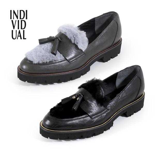 INDIVIDUAL インディヴィジュアル ラボキゴシ 靴 6356 本革 ローファー タッセル 厚底 マニッシュシューズ レディース セール