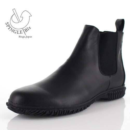 【エントリーでP5倍 4/9 20:00-4/16 1:59】 スピングルビズ SPINGLE Biz BIZ-132 BLACK メンズ ブーツ サイドゴア ビジネスシューズ 靴 超撥水 レザー ブラック 日本製