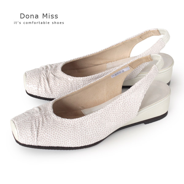 コンフォート パンプス バックベルト Dona Miss ドナミス 4009 アイボリー サンダル ワイズ 3E コンフォートシューズ レディース 靴 バックストラップ
