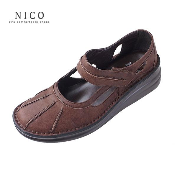 コンフォートシューズ レディース NICO ニコ 8315 厚底 ストラップシューズ 本革 カジュアルシューズ 靴 ブラウン 2way