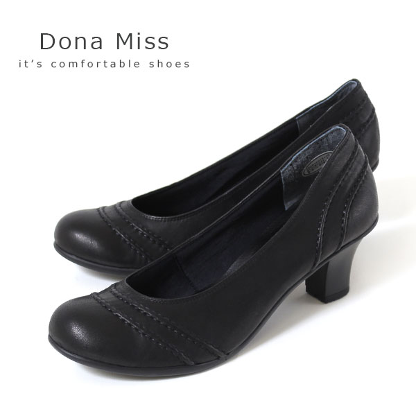 コンフォート パンプス Dona Miss ドナミス 1271 ワイズ 3E EEE 本革 コンフォートパンプス レディース カジュアル ブラック 黒 靴