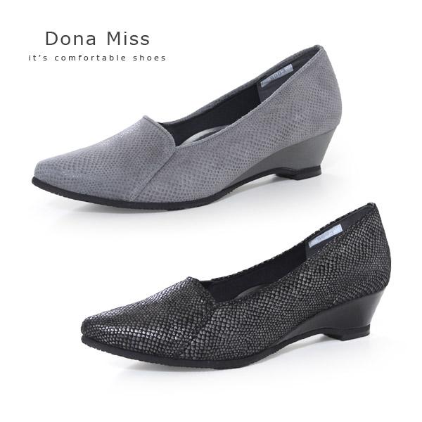 コンフォート パンプス Dona Miss ドナミス 靴 9003 ワイズ 3E 本革 ローヒール ウエッジ レディース パイソン ヘビ柄