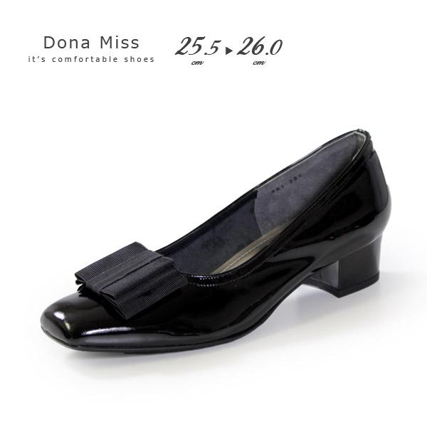 本革 エナメル パンプス ローヒール ブラック Dona Miss 381K 黒 リボン フォーマル レディース 靴 卒業式 入学式 卒園式 入園式 大きいサイズ