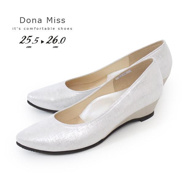 コンフォート パンプス Dona Miss ドナミス 靴 9100K アイボリー ローヒール ワイズ 3E 本革 レディース ウエッジソール 大きいサイズ