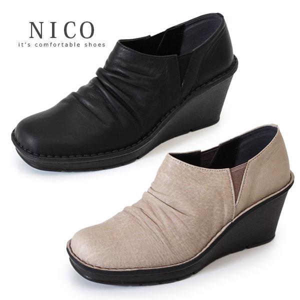 コンフォートシューズ 靴 レディース NICO ニコ 2000 ブラック グレージュ 厚底 ウエッジソール シューズ スリッポン ハイヒール サイドゴア 本革 カジュアルシューズ 日本製