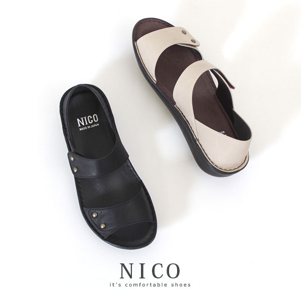コンフォートサンダル レディース NICO ニコ 8868 厚底 ナチュラル オープントゥ ローヒール フラット 本革 レザー カジュアルシューズ 靴 幅広 甲高 小さいサイズ