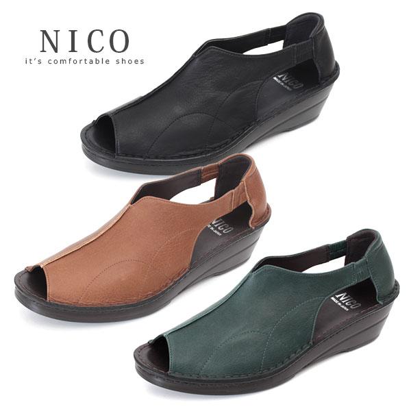 コンフォートシューズ レディース NICO ニコ 32481 厚底 ナチュラル オープントゥ ウエッジソール サンダル 本革 レザー 幅広 甲高 カジュアルシューズ 靴 セール