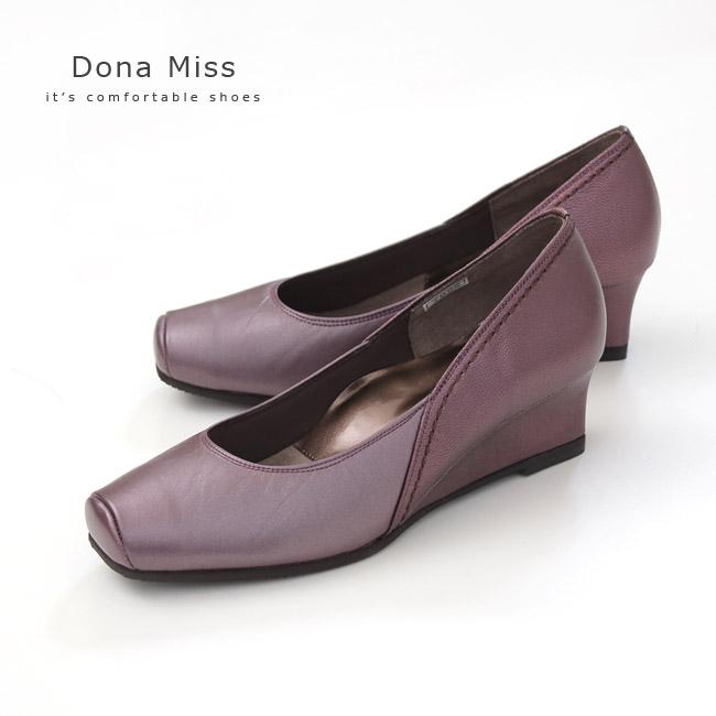 コンフォート パンプス Dona Miss ドナミス 7002 ワインメタ ワイズ 3E 本革 コンフォートシューズ レディース ウエッジソール 靴