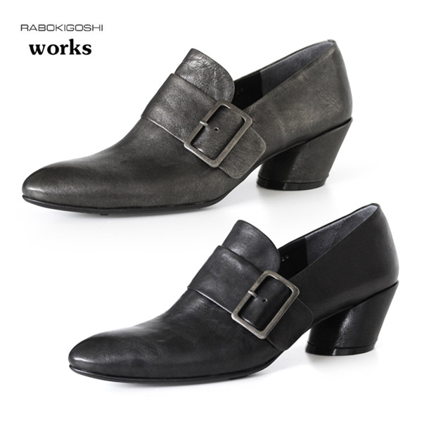 RABOKIGOSHI works 靴 ラボキゴシ ワークス 11865 バックル ベルト シューズ 本革 パンプス 太ヒール ローファー レディース セール