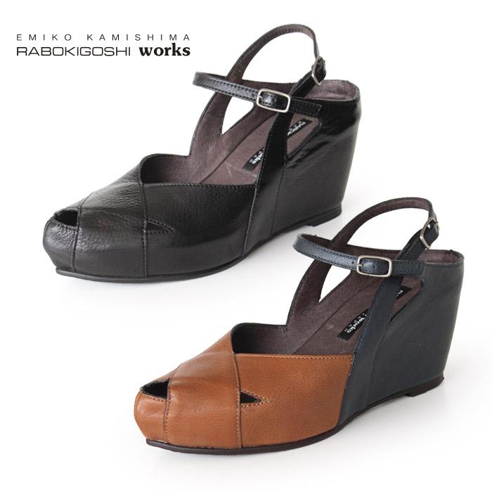 ラボキゴシ ワークス サンダル RABOKIGOSHI works 靴 11996 ウエッジソール 厚底 本革 ストラップ インストーム レディース セール