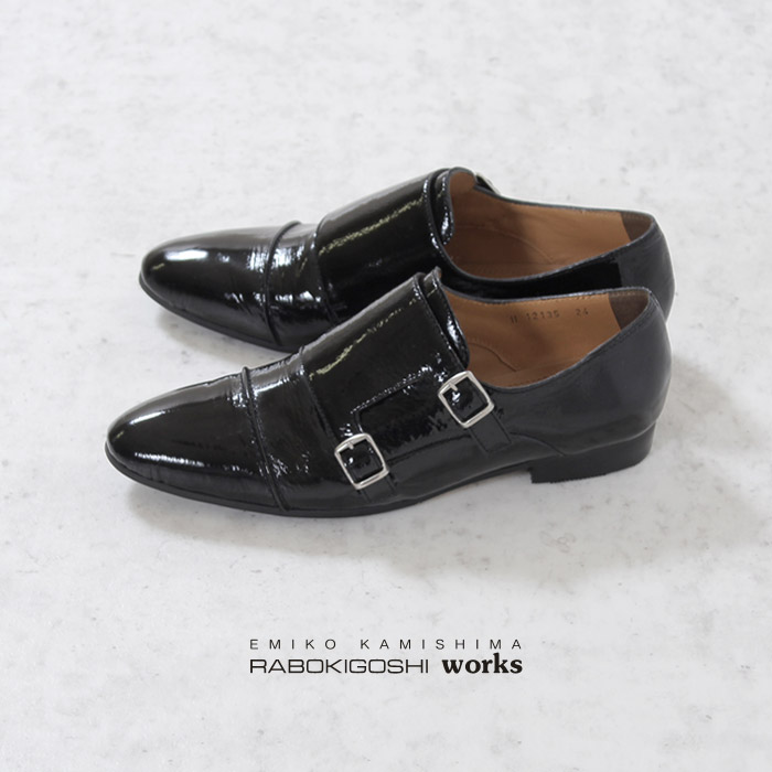 RABOKIGOSHI works 靴 ラボキゴシ ワークス 12135 ダブルモンク レディース モンクストラップシューズ 本革 エナメル パテント