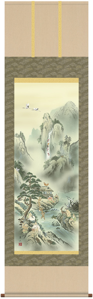 K6D5-059  蓬莱四神五猿図 掛け軸
