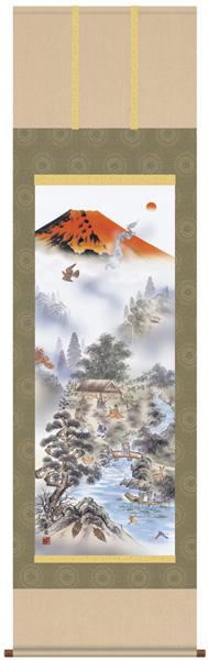 赤富士四神万全図 掛軸