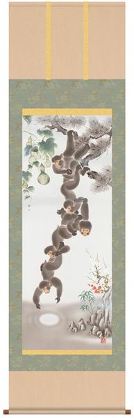 月五猿六瓢息災図 掛軸