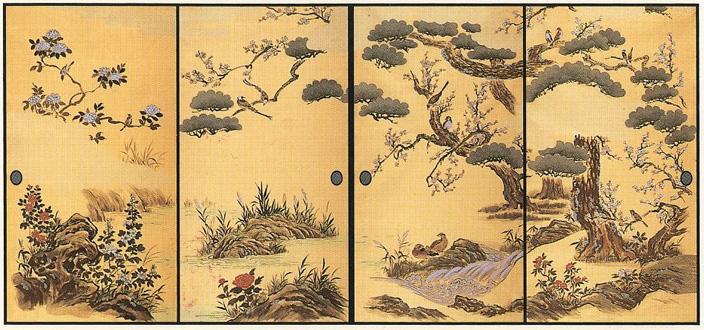 ふすま紙 4枚組 高級織物襖紙  四季花鳥