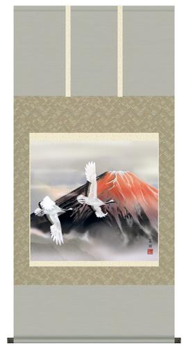 赤富士飛鶴 掛軸