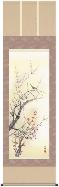 紅白梅に鶯 掛軸