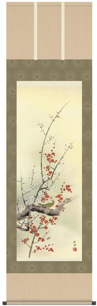 四季花鳥 紅白梅に鶯 掛軸