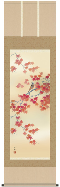 四季花鳥 紅葉に小鳥 掛軸