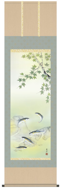 楓に鮎 掛け軸