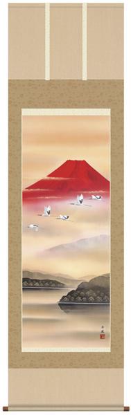 赤富士飛翔 掛軸 【送料無料】