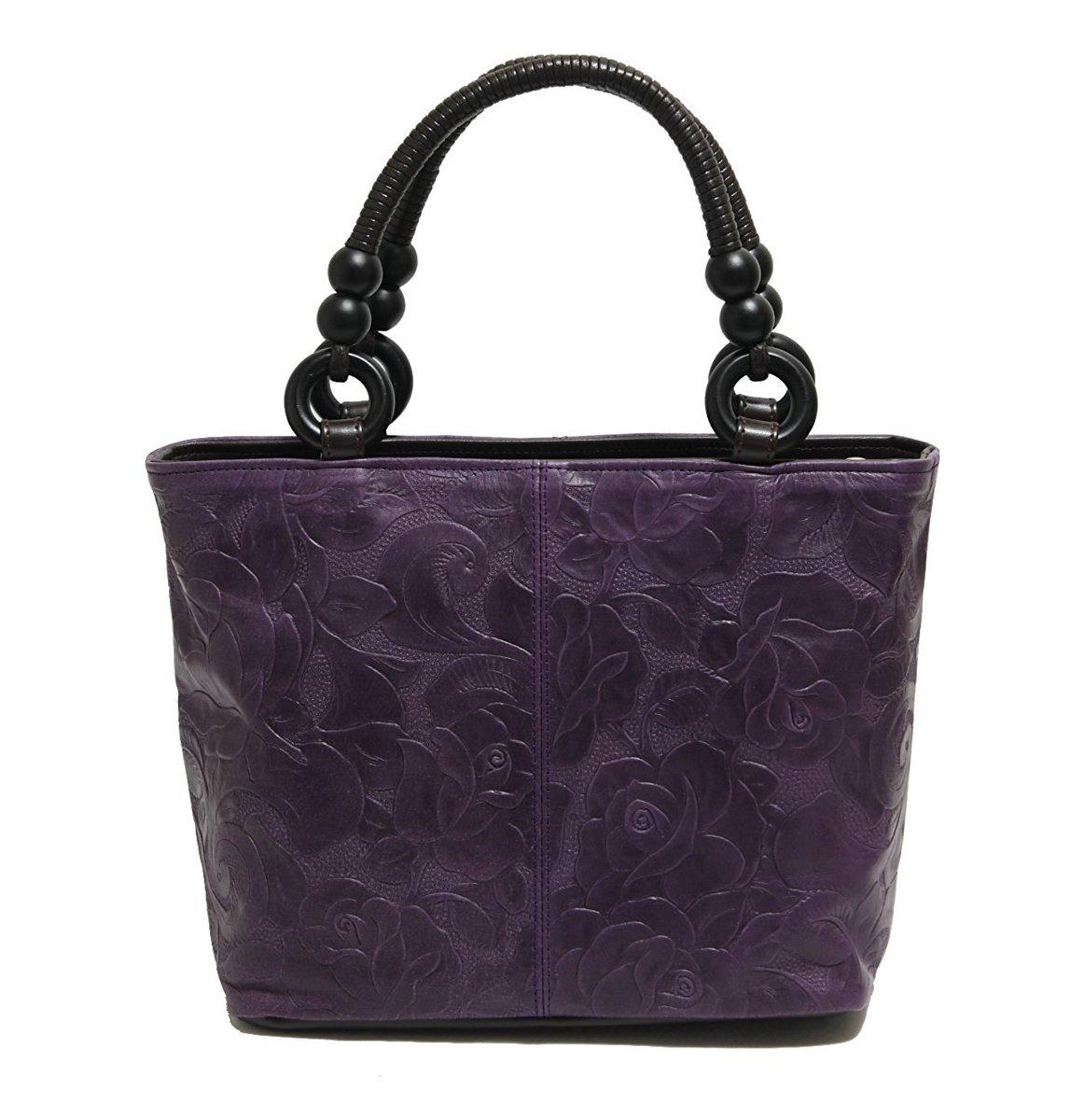 バッグ レディース 婦人用 牛革 フラワー 手提げ あおり 茶 紫 黒 日本製 ka071389