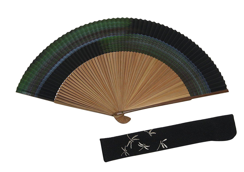 京扇子 男性用 紳士 メンズ 霞柄 黒 60本骨 京都職人 手作り 蜻蛉