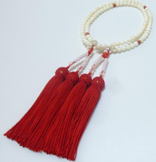 念珠 女性用二輪 本珊瑚 正絹房赤 数珠 仏具