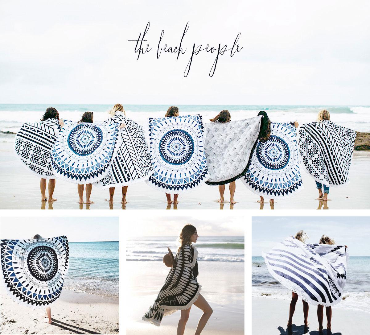 周圍的人海灘人們在海灘毛巾沙灘墊地毯裝飾 ROUNDIE 毛巾浴巾毛巾 [回來的股票 9/5]