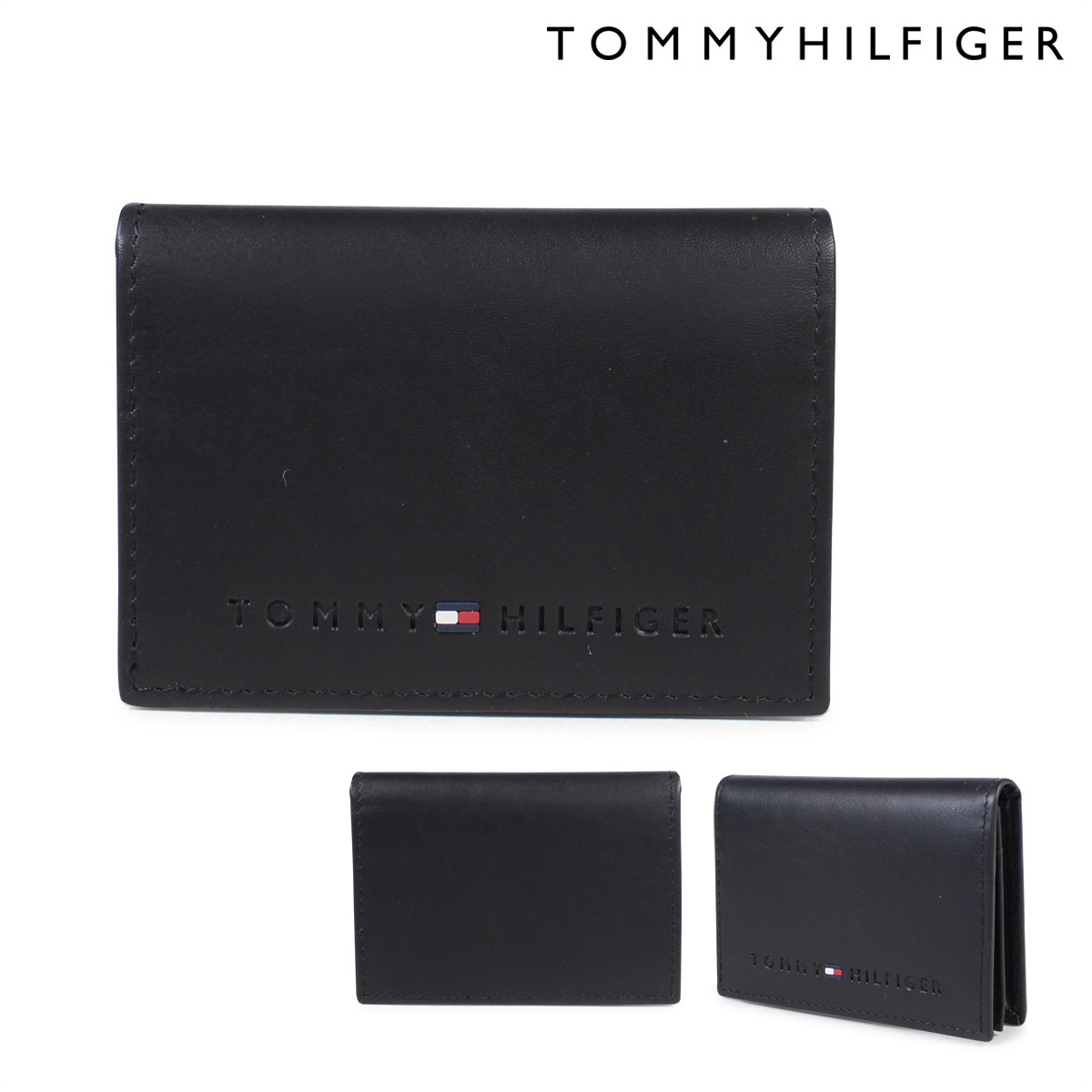 low priced c5bb2 d2d1e TOMMY HILFIGER WALLESLEY CARD HOLDER card case トミーヒルフィガーメンズレザー 4860  31TL20X014-001 black [6/4 reentry load]