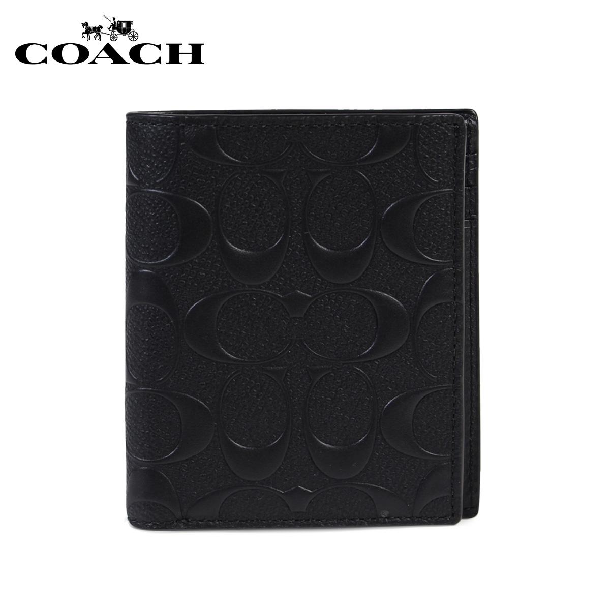 COACH F11970 コーチ 財布 二つ折り メンズ レザー BLK ブラック