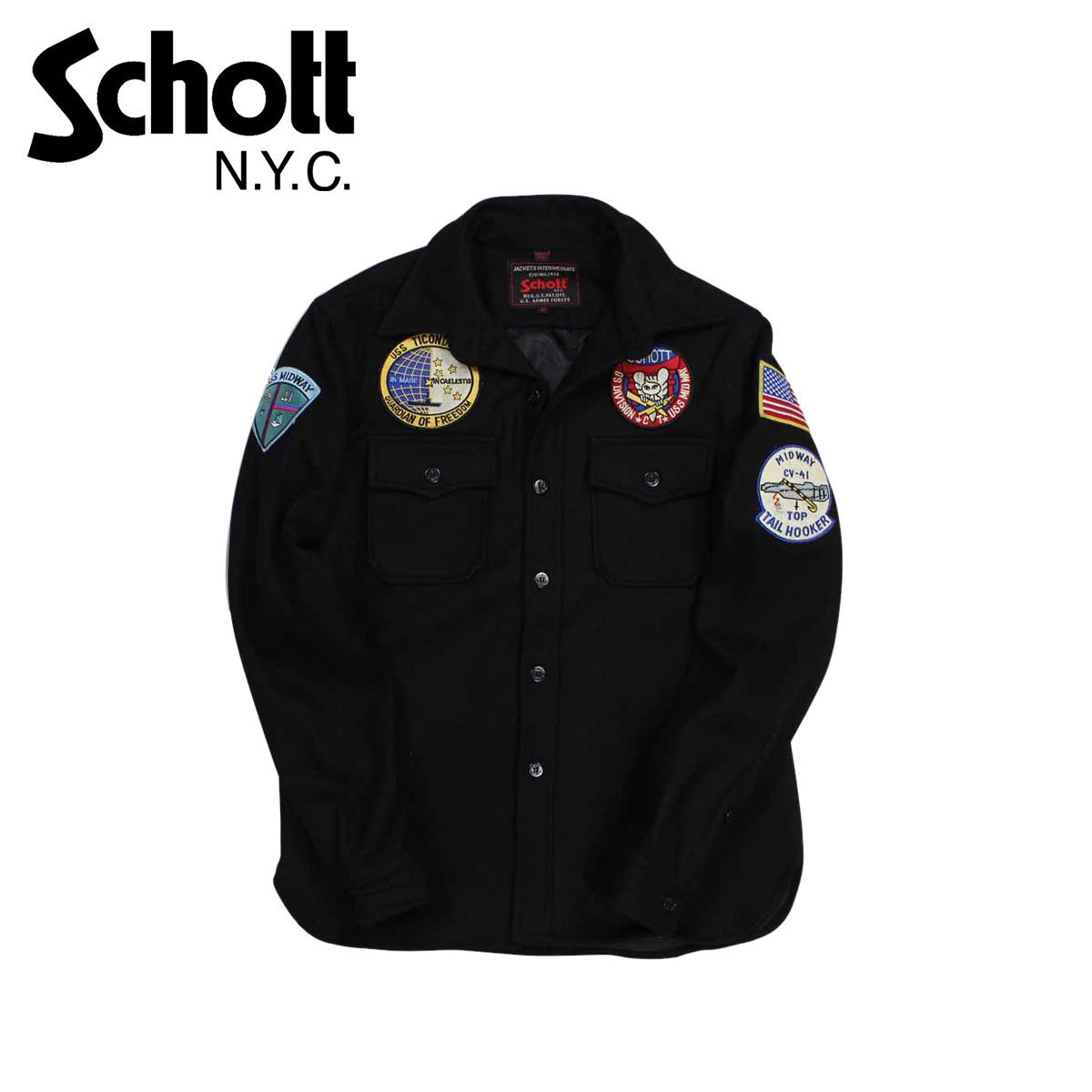 Schott EMBELLISHED CPO WOOL SHIRT ショット ジャケット シャツジャケット メンズ ブラック 7710