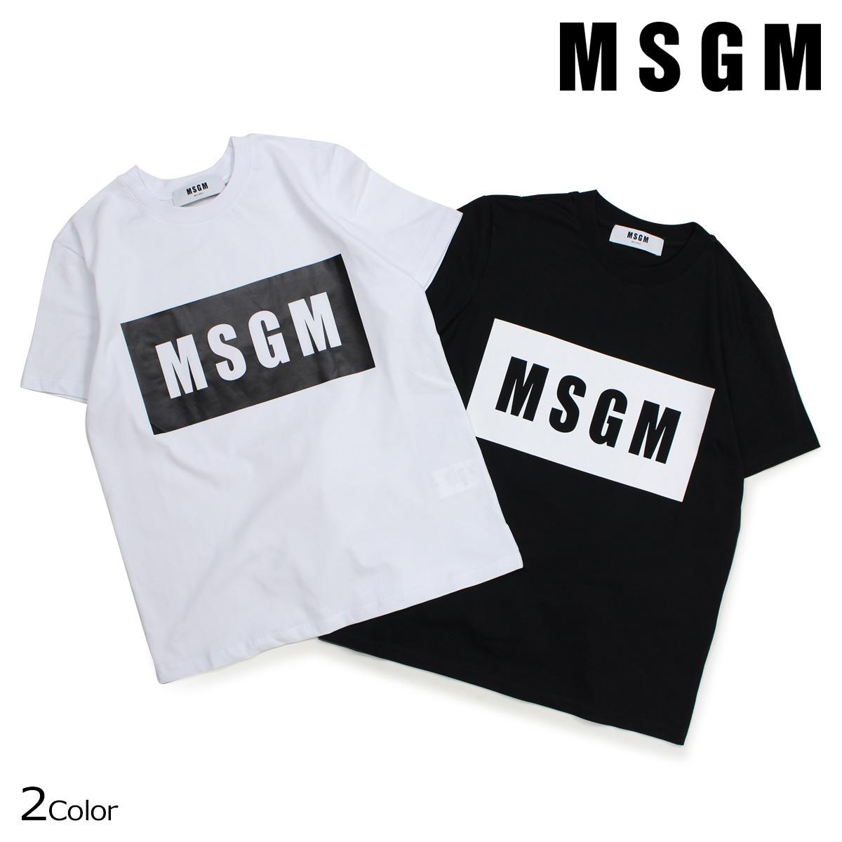MSGM BOX LOGO TEE Tシャツ レディース エムエスジーエム 半袖 ブラック ホワイト MDM95-184299