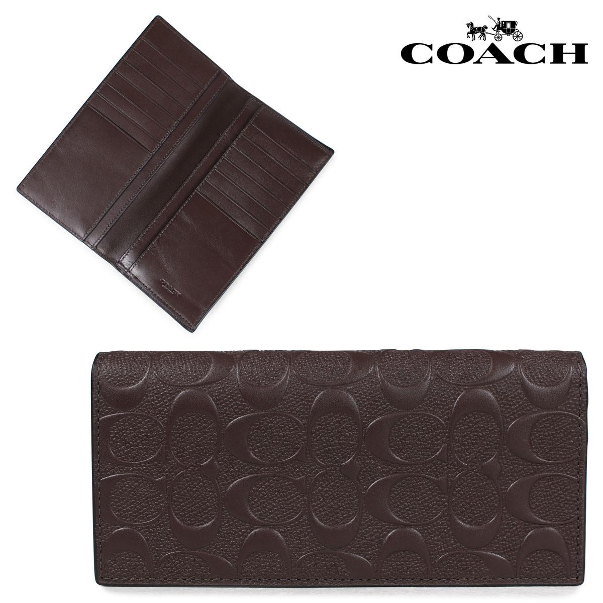 COACH F75365 コーチ 財布 長財布 メンズ レザー シグネチャー ブラウン