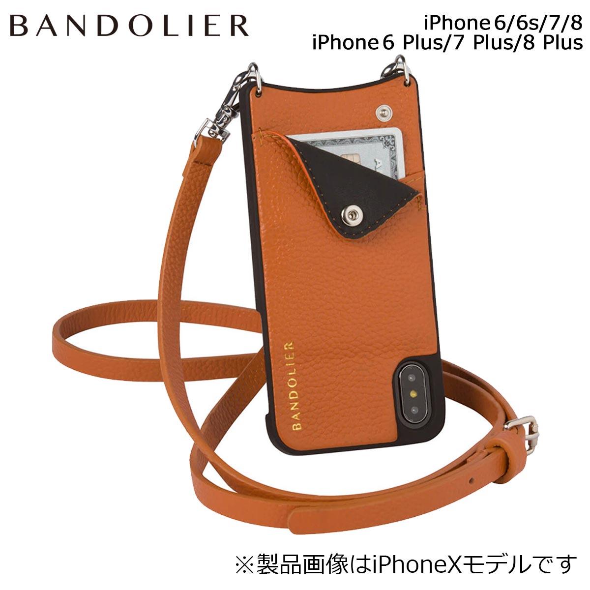 BANDOLIER EMMA COGNAC バンドリヤー iPhone8 iPhone7 7Plus 6s ケース スマホ アイフォン プラス メンズ レディース ブラウン [9/14 追加入荷]
