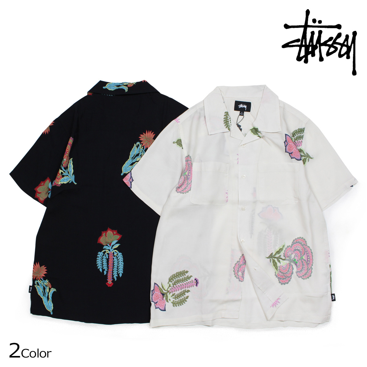 STUSSY HANA PRINTED SHIRT ステューシー シャツ メンズ 半袖 ブラック ホワイト 111987